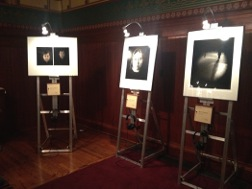 Megan Pauly/MEDILL Audio segments and portraits of 45 individuals lined the walls of St. James Cathedral.